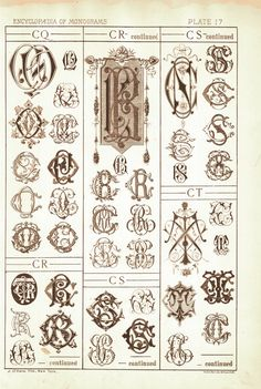 page scan from antique monogram book, showing CQ through CT. Page scan available through Etsy seller VintageMonogram