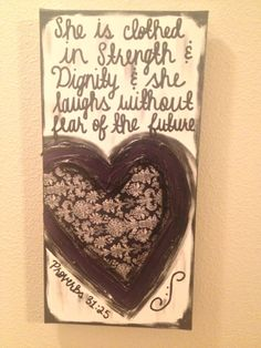 She is Clothed in Strength & Dignity Paisley Print Purple Heart Textured Canvas