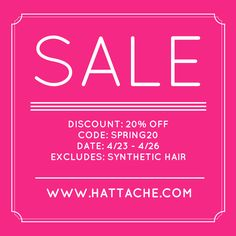 Join us for our Sales Event - We are over due for Spring Cleaning, Thumbs up for Earth's Day Yesterday - and Mother's Day is almost here. Take 20% off our selection of Organic and/or Natural Hair/Beauty Maintenance Products for 4 days. - Code SPRING20 - Visit us at www.hattache.com #naturalhaircommunity #TeamNatural #NaturalHairProducts #hattache