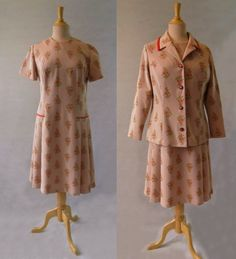 Dusty Pink and Salmon Floral Dress and Jacket - 1960s by LouisaAmeliaJane on Etsy