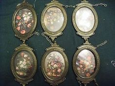 Lot-of-6-Vintage-Made-in-Italy-Metal-Frames-w-Glass-Artists-Crafters-Decorators I own one of these, but it has my granddaughter's photo in it, not flowers.