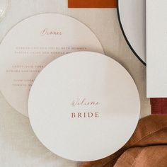 Gorgeous soft almond and rust round wedding menus Wedding Menu, Wedding Stationary, Floral Wedding, Wedding Planning, Wedding Day, Romantic Table Setting, Wedding Table Settings, Wedding Reception Decorations, Drink Display