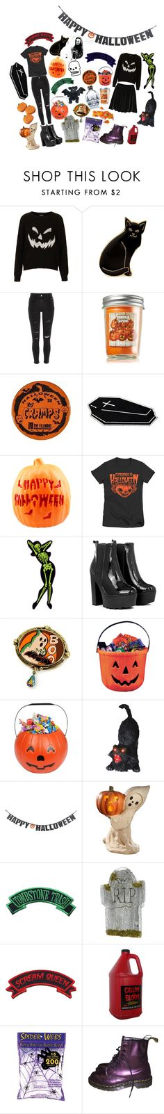 """(a super late halloween set)"" by sarabeanxo ❤ liked on Polyvore featuring Topshop, Calourette, River Island, CO, Sweet Romance, Buy Seasons, Crate and Barrel, Bethany Lowe, Kreepsville 666 and Dr. Martens"