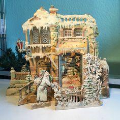 Alte Papierkrippe Kulissenkarte Weihnachten Weihnachtsmann Pappe de.picclick.com