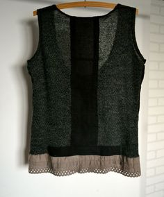 Upcycled clothing vest knit dark gray bown cotton by smArtville