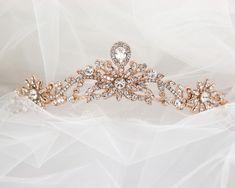 Rose Gold Princess Tiara with Floral Design - Cassandra Lynne Wedding Tiaras, Princess Tiara, Wedding Jewelry, Gold Wedding, Scroll Design, Bridal Tiara, Bridal Accessories, Rose Gold Plates, Floral Design