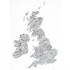 British Isles Word Map Print by Alison Hardcastle, the perfect gift for Explore more unique gifts in our curated marketplace. Illustrator, Word Map, British Isles, Hand Lettering, Art Prints, Artwork, Handwritten Type, Graphics, Rule Britannia