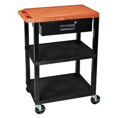 Utility Cart,h 34 In,orange Top Shelf - LUXOR by Luxor. $278.96. Utility Cart, Load Capacity 200 lb., Thermoplastic Resin Body, Metal Drawer Construction, Color Orange Top Shelf, Black, Overall Length 24 In., Overall Width 18 In., Overall Height 34 In., Number of Shelves 3, Caster Size 4 In., Caster Type 4 Swivel, 2 with Lock, Caster Material Hard Rubber, Capacity per Shelf 100 lb., Distance Between Shelves 12 In., Shelf Length 24 In., Shelf Width 18 In., Lip Heig...