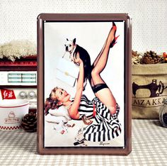 Vintage PinUp Girls Famous Metal Art Watercolor by IsabelGadgets, $9.99