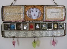 Altered watercolor tin, using antique buttons embedded in resin, book page, antique book ends daguerreotype frame, glass beads and original drawing. Altered Tins, Altered Art, Deco Dyi, Shadow Box, Art Projects, Projects To Try, Tin Art, Arts And Crafts, Diy Crafts