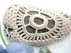 Crochet lace stone  Nature decorated river pebble stone by MINTOOK, $23.00