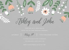 Floral Gray Invite card by Postable on Postable.com