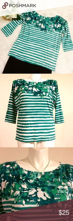 Ann Taylor Loft Green Floral & Stripes Top Green patterned top in EUC. A great top to brighten your work day or a casual day out. 60% cotton 40% modal. LOFT Tops