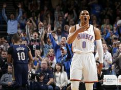 Oklahoma City's Russell Westbrook (0) celebrates after a basket during an NBA game between the Oklahoma City Thunder and the New Orleans Pelicans at Chesapeake Energy Arena on Friday, Feb. 6, 2015. Photo by Bryan Terry, The Oklahoman