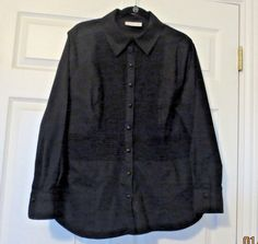 Coldwater Creek 2X Black Stretch Pleats Pintuck  Button Down Career Shirt 20 22 #ColdwaterCreek #ButtonDownShirt #Career