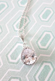 Silver Luxe Cubic Zirconia Teardrop Necklace, gifts for her, Silver White weddings, bridesmaid necklace, bridal jewelry, crystal, www.glitzandlove.com