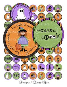 Too Cute to Spook HALLOWEEN (1.5 inch round) bottlecap Altered Images Digital Collage Sheet orange black spooky green purple  New ~ Too Cute to Spook HALLOWEEN designs! Perfect for all your little monsters!  After many requests for my custom digital images to be