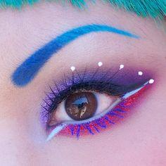 Shrinkle wearing: Sugarpill Poison Plum, Love+; Fyrinnae Neo Universe; Inglot gel liners, mascara; Litcosmetics glitter; Kryolan HD creme liner in Aqua, beaded lashes from eBay.