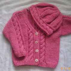 Cable cardigan and hat PDF knitting pattern for babies and toddlers | PurplePup - Patterns on ArtFire