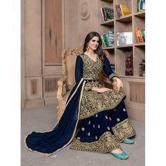 New Designer Anarkali Salwar Kmaeez With Palazzo Ethnic Wedding/Party Wear Dress Bollywood Suits, Bollywood Bridal, Bollywood Fashion, Salwar Suits, Salwar Kameez, Sharara, Anarkali Dress, Pakistani Dresses, Fashion Bazaar