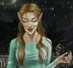 Feyre on Starfall with dead spirit on her face xD
