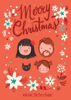 Sweet illustrated family portrait Christmas Holiday card
