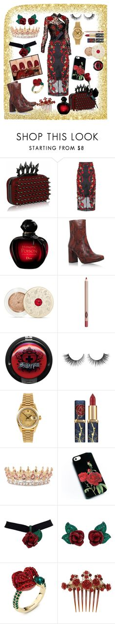 """Red Rose of Lancaster"" by slytherin-pirate-chick ❤ liked on Polyvore featuring Zuhair Murad, Dolce&Gabbana, Christian Dior, KG Kurt Geiger, Bare Escentuals, Charlotte Tilbury, Rimini, Rolex and Atelier Swarovski"