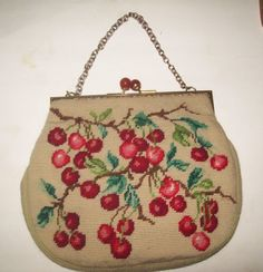 Simply stunning VINTAGE needlepoint purse with cherries petit point bakelite clasp via Etsy
