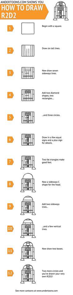DIY: How To Draw A Cartoon R2D2 – Tutorial #StarWars