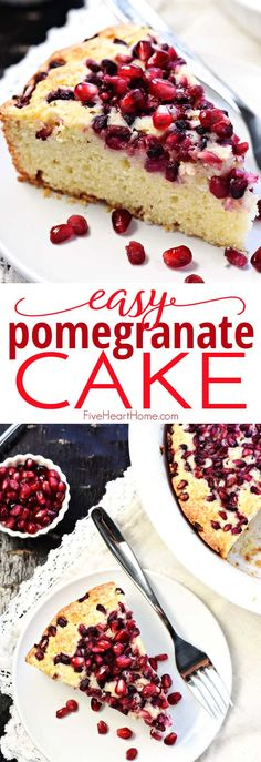 Pomegranate Cake this easy and delicious recipe features a simple golden batter topped with juicy pomegranate arils and baked to sweet tender perfection via fivehearthome New Year's Desserts, Christmas Desserts Easy, Delicious Desserts, Yummy Food, Plated Desserts, Tasty, Real Food Recipes, Cake Recipes, Dessert Recipes