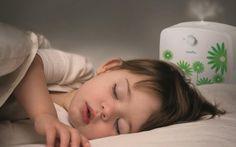 Baby sleeping with humidifier