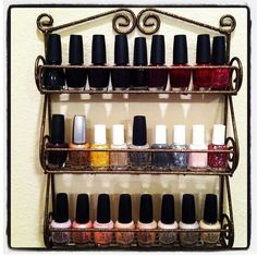 Spice rack turned nail polish rack... available at Target and Walmart