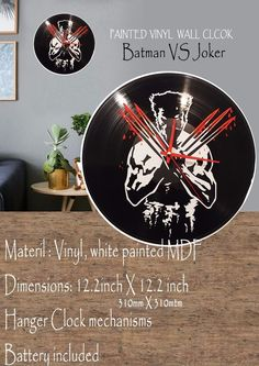 Logan painted Vinyl Clock #vinyl #Mdf #lasercut #wallclock #TimeCraft E Craft, Batman Vs, White Paints, Laser Cutting, Logan, Clocks, Hanger, Ebay