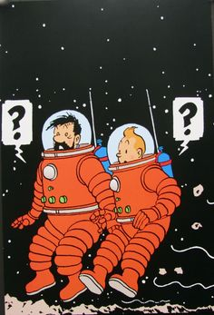 tintin-et-haddock-surpris • Tintin and Captain Haddock on the moon • a Explorers on the Moon • Tintin, Herge j'aime