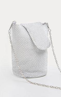 600e315fd8 Silver Diamante Chainmail Cylindrical Bag