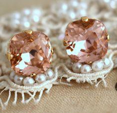 Blush pink earrings Blush pink crystal earrings Blush by iloniti
