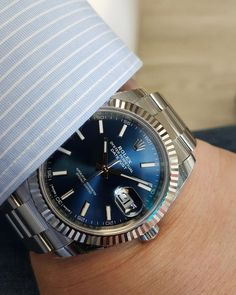 Check out the new Rolex Datejust 41 model in stainless steel with blue baton dial Global Watch Shop have it in stock so buy yours today. Dream Watches, Cool Watches, Rolex Watches, Audemars Piguet, Patek Philippe, Breitling, Rolex Datejust Ii, New Rolex, Rolex 116234