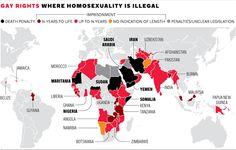 Tolerancia. ¿Cuáles son los peores países del mundo para ser homosexual?