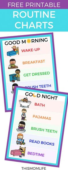 Free printable routine charts and chore charts for kids Morning Night Toddler Bedtime After School Daily Evening Bedtime Chart, Bedtime Routine Chart, Morning Routine Chart, Morning Routine Kids, After School Routine, Yoga Routine, Toddler Routine Chart, Night Routine, Bedtime Routine Printable