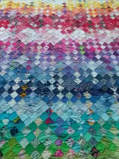 Colleen Seymour This stunning quilt was made with the small off cuts from other patchwork projects. It is paper pieced and handstitched...all done over time whilst watching TV Hand Stitching, Quilts, Blanket, Tv, Paper, Projects, Scrappy Quilts, Log Projects, Comforters