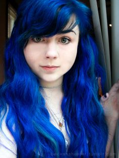 It Looks Like She Used Either La Riche Directions Blue Or Manic Panic Rockabilly Blue :)