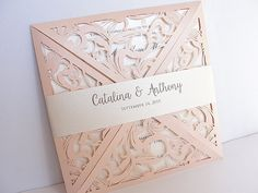 Laser Cut Wedding Invitation Blush Wedding by LavenderPaperie1
