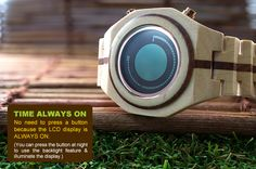 Wooden LCD Watch Design with Time, Date, Alarm and EL Backlight: Kisai Maru