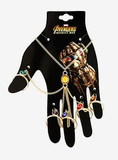 Unleash the power of the Infinity Stones with this hand bracelet from Avengers: Infinity War! The gold tone chain hand bracelet features 5 rings and a center stone representing each color of the Infinity Stones. Moda Marvel, Marvel Avengers, Marvel Characters, Marvel Movies, Coque Harry Potter, Hand Armband, Marvel Clothes, Avengers Clothes, Marvel Shoes