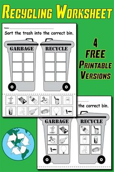 Sorting Trash - Earth Day Recycling Worksheets (4 FREE Printable Versions!) #earthday
