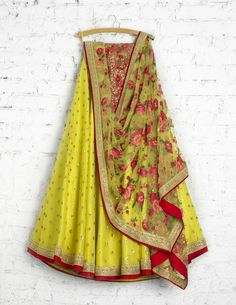 SwatiManish Lehengas SMF LEH 212 17 Bumblebee sequin lehenga with floral threadwork dupatta and sequin threadwork blouse Indian Lehenga, Lehenga Choli, Lehenga Style, Indian Gowns, Sarees, Indian Wedding Outfits, Indian Outfits, Indian Clothes, Indian Attire