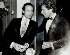 """amodestgift: """" http://www.gettyimages.com/detail/news-photo/wearing-a-tie-about-as-subtle-as-city-tv-media-mogul-moses-news-photo/502545445 Photo by Erin Combs, 1983 """" Moses Znaimer and Leonard Cohen"""