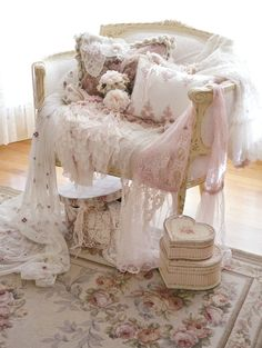 Shabby♡Style, OMG, I love this chair with all the lace and frumpy pillows