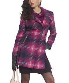 Look at this Tesoro Moda Raspberry Pixel Wool-Blend Coat - Women on today! Types Of Coats, Light Jacket, Coats For Women, Wool Blend, Raspberry, Bodycon Dress, Plus Fashion, My Style, Casual