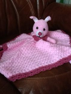 Handmade Pink crocheted comfort blanket by Happilyevercrafts, £8.50